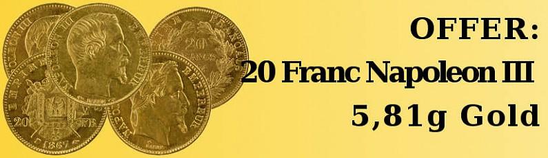 Offer: 20 Franc Napoléon III 5,81g Gold