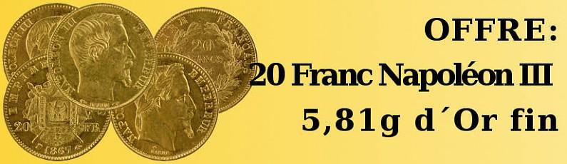Offre: 20 Franc Napoléon III 5,81g d'Or fin