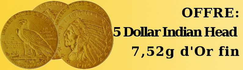 Offre: 5 Dollar Indien Head  7,52g d'Or fin