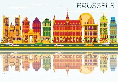 Belgien: Silhouette von Brüssel als art design