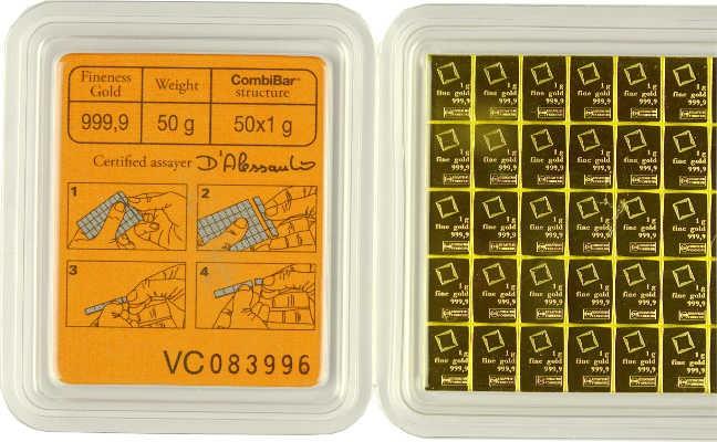 CombiBar Tafelbarren von Valcambi 50x1g