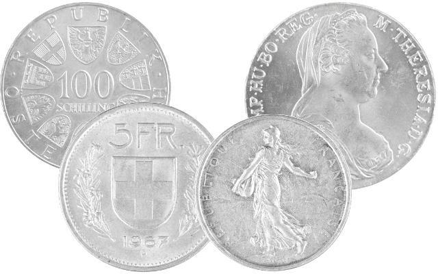 Silbermünzen Österreich, Schweiz, Frankreich