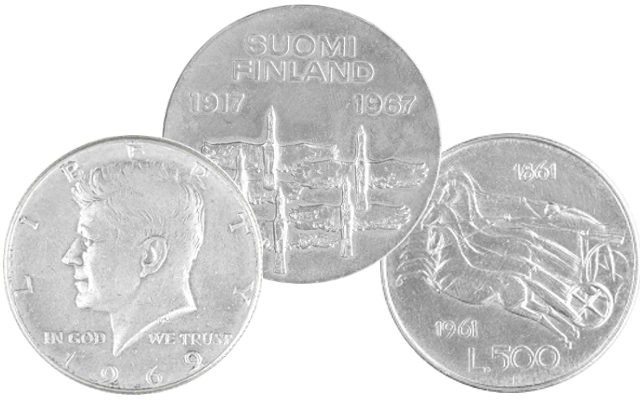 Silver coins US, Italy and other countries