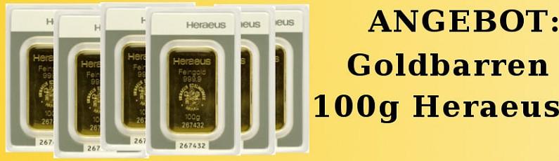 Angebot: 100g Goldbarren Heraeus