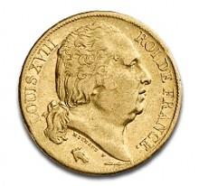 """20 FF """"Louis XVIII"""" 5,81 g d'or avec aspect de collection"""
