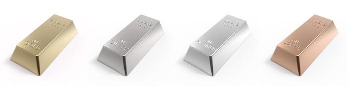 Lingots de différents métaux précieux