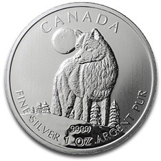 Pièces de collection: Les séries Wildlife du Canada, Loup 1 oz d'argent 2011