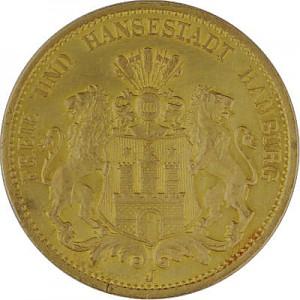 20 Mark Free Hanseatic City of Hamburg 7,16g Gold