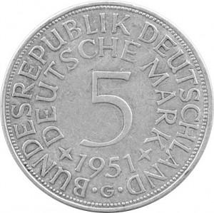 5 DM Kursmünzen BRD 7g Silber (1951 - 1974) - B-Ware
