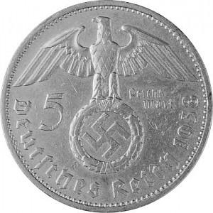 5 Reichsmark Hindenburg mit HK 12,5g Silber (1934 - 1939)