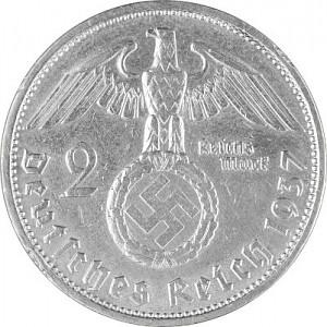 2 Reichsmark Hindenburg mit HK 5g Silber (1936 - 1939)