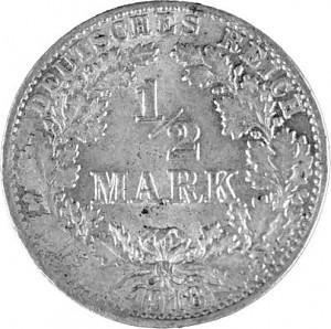 ½ Mark German Empire 2,5g Silver (1905 - 1919)