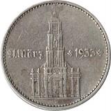 2 Reichsmark Garnisonskirche mit Jahr 5g Silber (1936 - 1939)