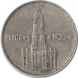 5 Reichsmark Garrison Church with the year 12,5g Silver (1934 - 1939)