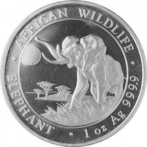 Somalia Elephant, African Wildlife 1oz d'argent fin -– 2016 - deuxième choix
