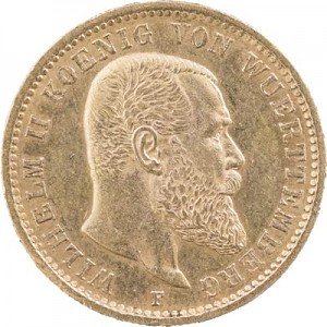 20 Mark Wilhelm II König von Württemberg 7,16g Gold