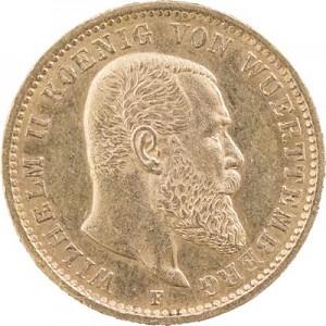 20 Mark Emperor Wilhelm II King of Württemberg 7,16g Gold