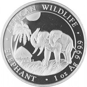 Somalia Elephant African Wildlife 1 oz Silver - 2017