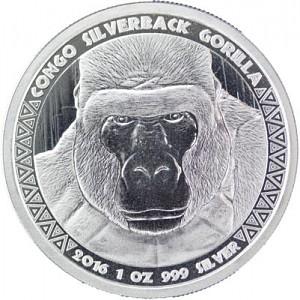 Congo Gorille 1oz d'argent fin -  2016