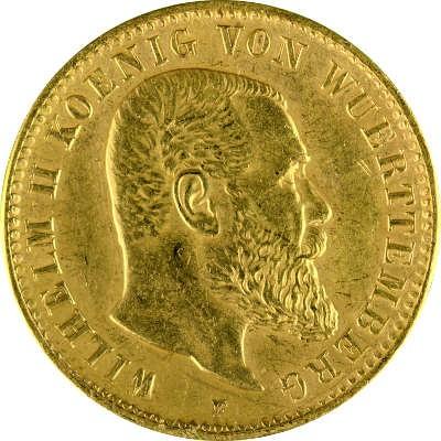 10 Mark Wilhelm Ii König Von Württemberg 358g Gold B Ware