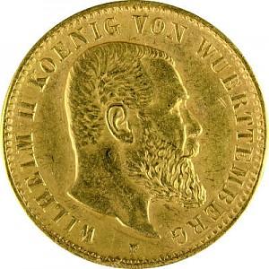 10 Mark Wilhelm II. König von Württemberg 3,58g Gold - B-Ware