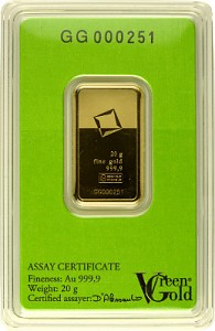 Gold Bar 20g - Green Gold VALCAMBI