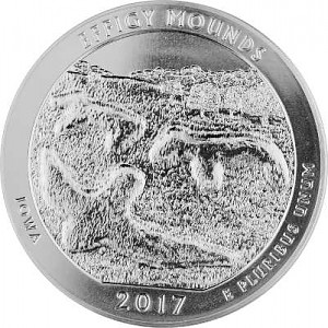 America the Beautiful - Iowa Effigy Mounds National 5oz Silber - 2017