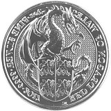 Queens Beast Red Dragon 2oz Silber - 2017
