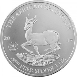 Springbok Africain du Gabon 1oz d'argent fin - 2017