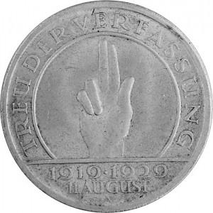 5 Reichsmark Schwurhand Hindenburg 12,5g Silber - 1929