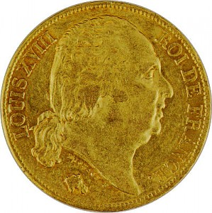 20 Francs Louis XVIII. 5,81g Gold