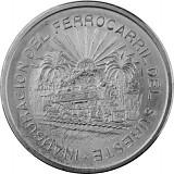5 Pesos Mexiko Eisenbahn 20,05g Silber - 1950