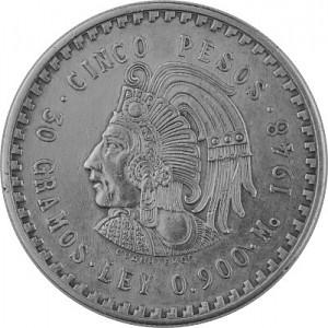 5 Pesos Mexico Cuauhtemoc 27g Silver 1947 - 1948