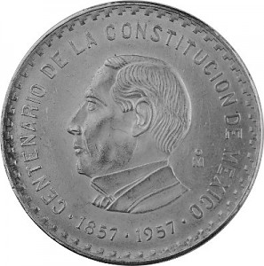 10 Pesos Mexico 100 yrs. Constitution 26g Silver - 1957