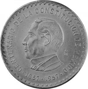 10 Pesos Mexique 100 ans constitution 26g d'argent - 1957