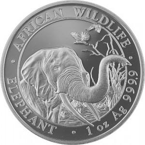 Somalia Elephant African Wildlife 1 oz Silver - 2018