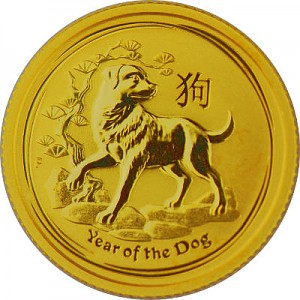 Lunar II Hund 1/10oz Gold - 2018