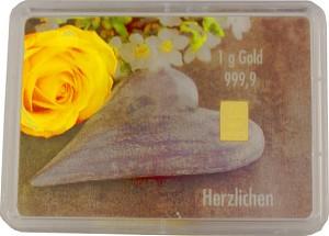 Goldbarren 1g - Flipmotiv 'Hochzeit, Stein + Ringe'