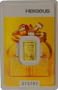 Lingot 2g d'or fin - Heraeus Kinebar 'motif cadeau'