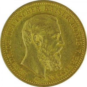 20 Mark allemand Friedrich III de Prusse 7,16g d'or fin