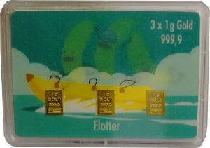 Goldbarren 3x1g - Flipmotiv 'Flotter Dreier, Bananenboot'