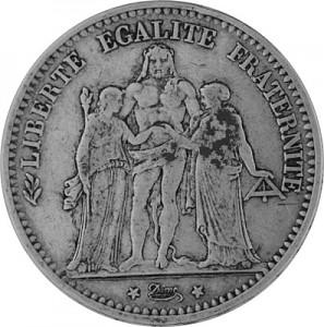 5 Franc Frankreich 22,5g Silber (1848 - 1879)