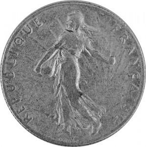 50 Centime Français 2,09g d'argent (1897 - 1920)