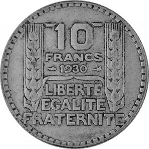 10 Franc Frankreich 6,8g Silber (1929 - 1939)