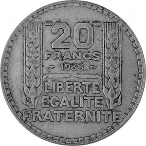 20 Franc France 13,6g Silver (1929 - 1939)