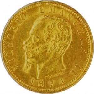 20 Lire Vittorio Emanuelle II. 5,81g Gold 1861 - 1878