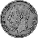 5 Franc Belgien 22,5g Silber Leopold II 1867 - 1876