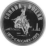 1 Canada Dollar 100 Jahre Calgary Rodeoreiter 11,58g Silber - 1975
