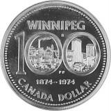 1 Canada Dollar 100 Jahre Winnipeg 11,55g Silber - 1974