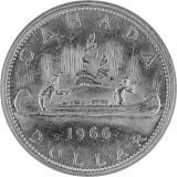 1 Canada Dollar Pelzhändler u. Indianer im Kanu 18,66g Silber - 1966